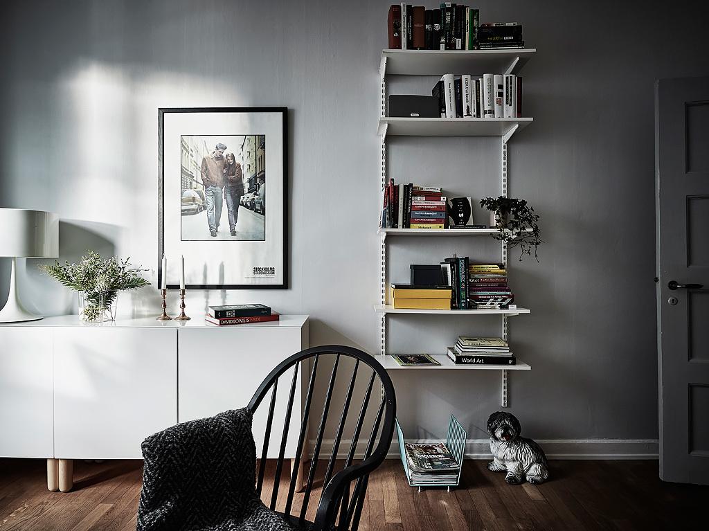 北欧风小户型公寓装修搁物书架设计图