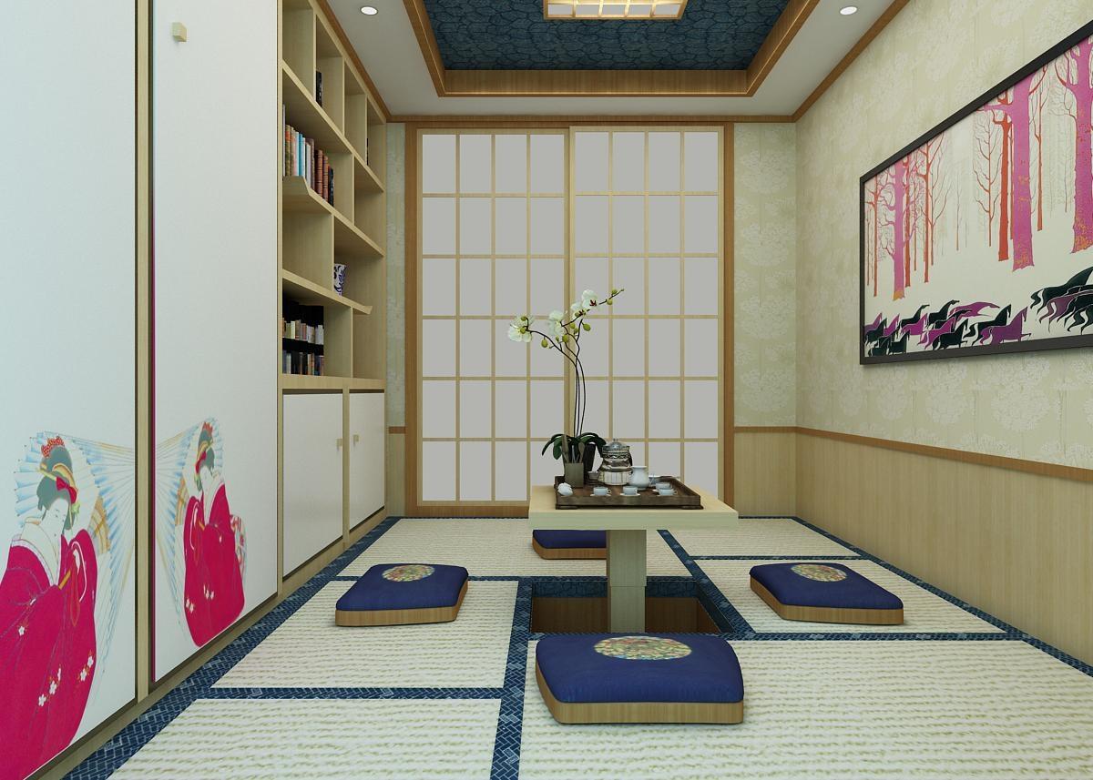 75平米日式风格榻榻米茶室装修效果图