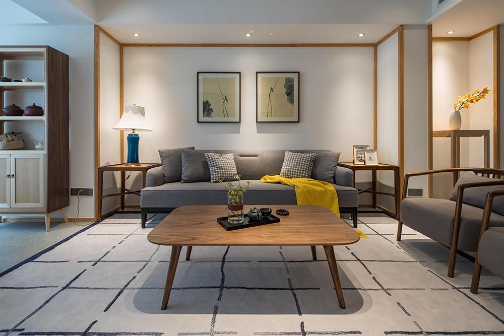 简约中式风格三居客厅装修效果图