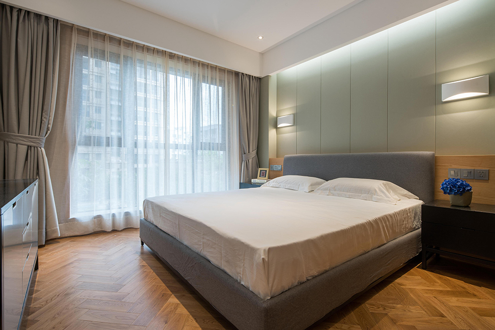 简约中式风格三居卧室装修效果图