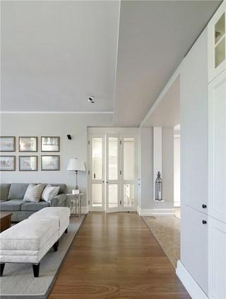 126㎡现代美式混搭客厅过道装修效果图
