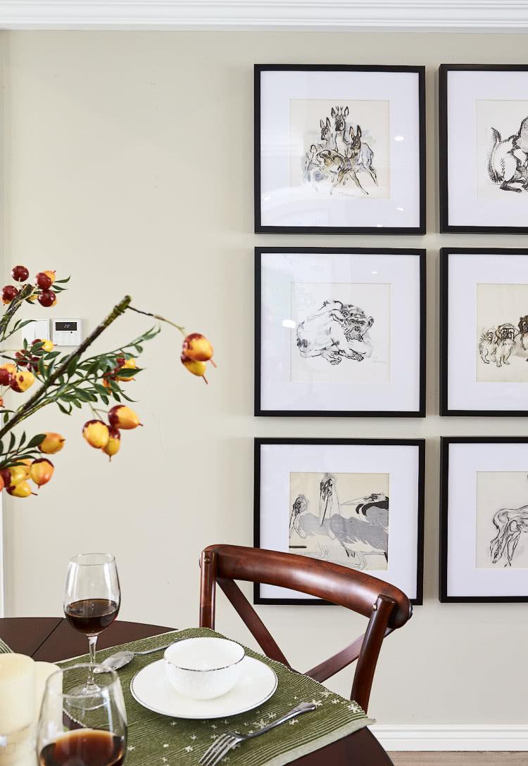 160平美式风格餐厅背景墙装修效果图