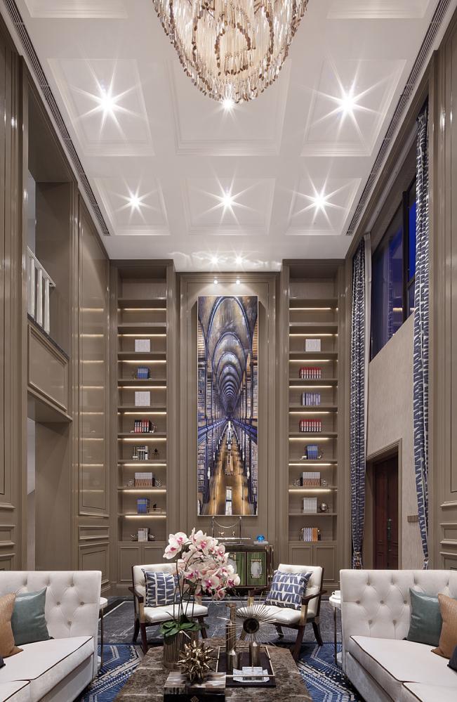 现代奢华别墅样板间客厅装修效果图