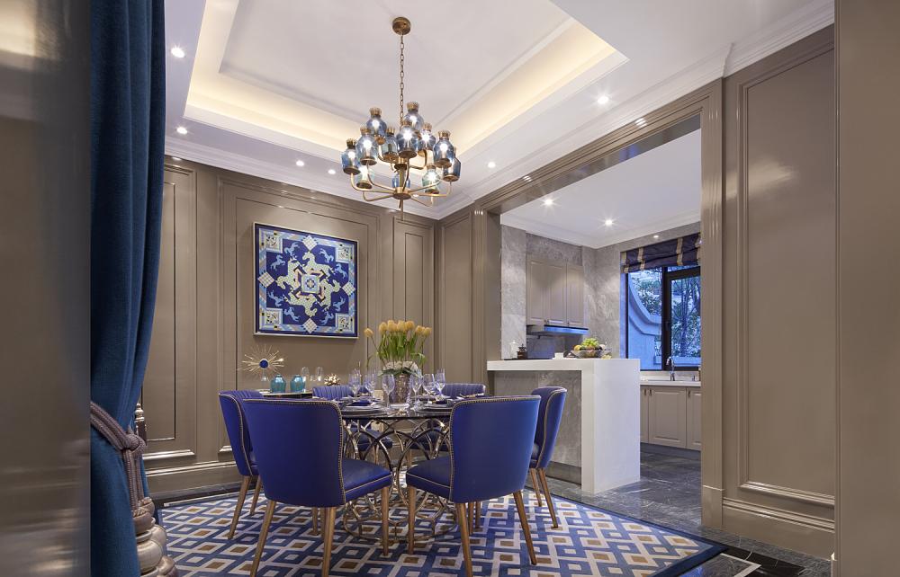 现代奢华别墅样板间餐厅装修效果图