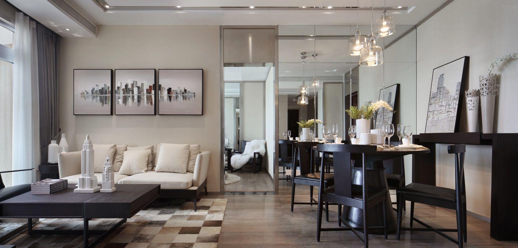 65㎡现代一居室客餐厅装修效果图