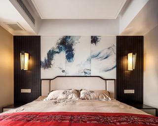 125㎡新中式风格卧室背景墙装修效果图