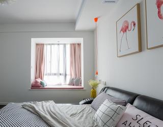 北欧清新二居卧室飘窗装修效果图