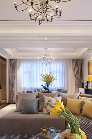 现代轻奢样板间装修沙发布置图