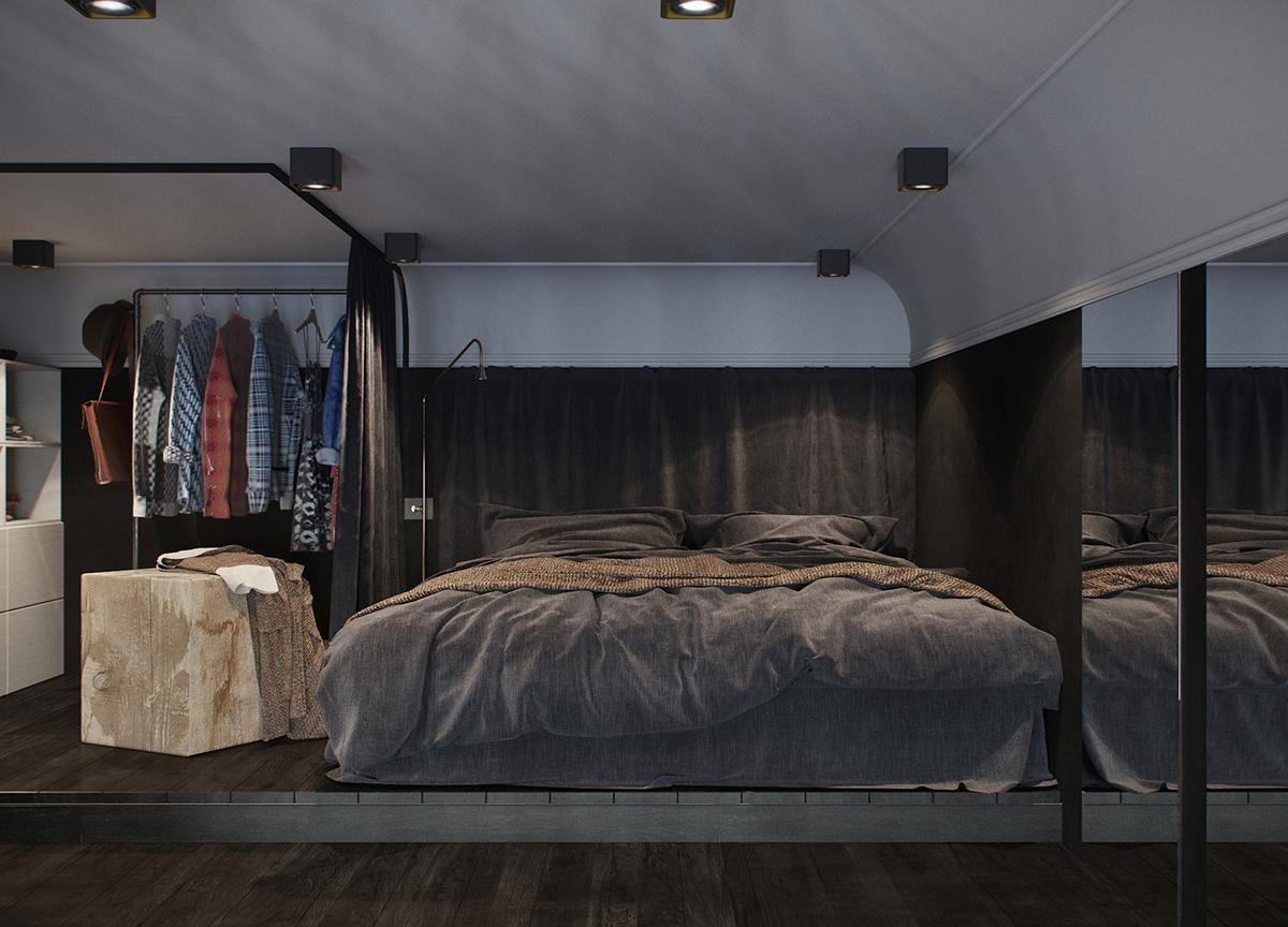 24平黑系公寓卧室装修效果图