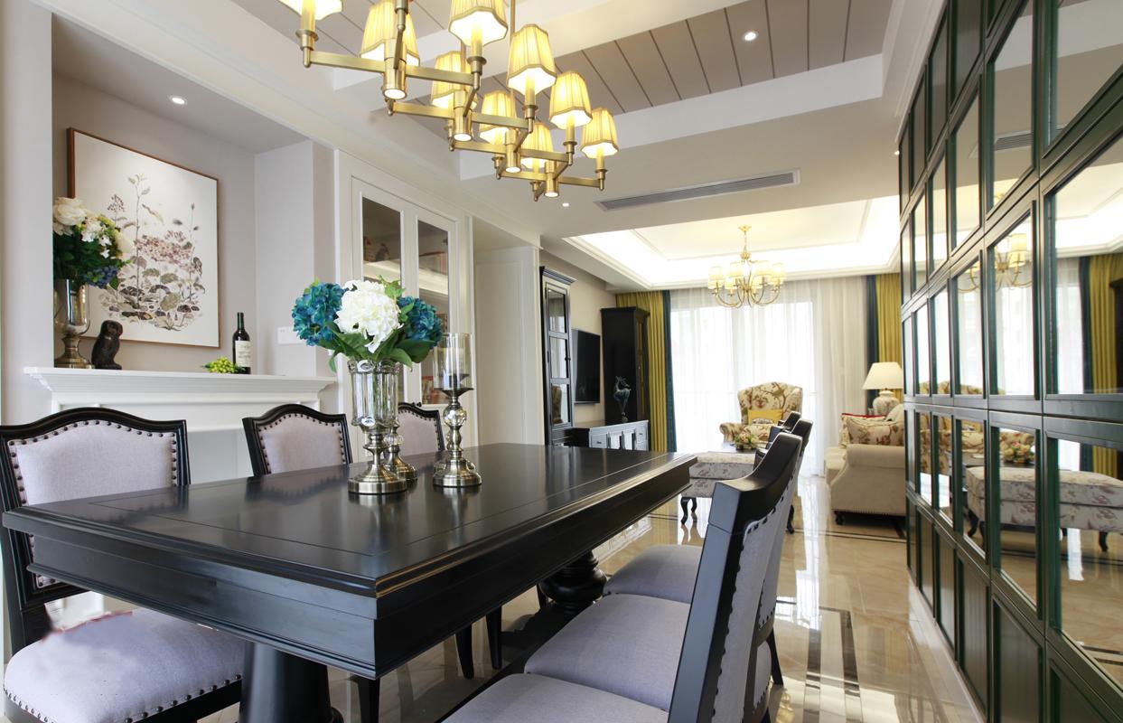 三居室美式风格装修餐桌设计图
