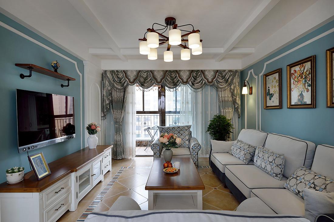 蓝色美式风格客厅装修效果图