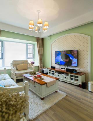 二居室田园风格电视背景墙装修效果图