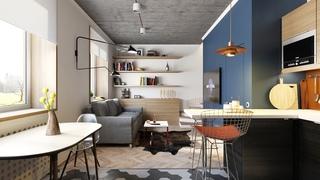小户型二居室公寓装修效果图