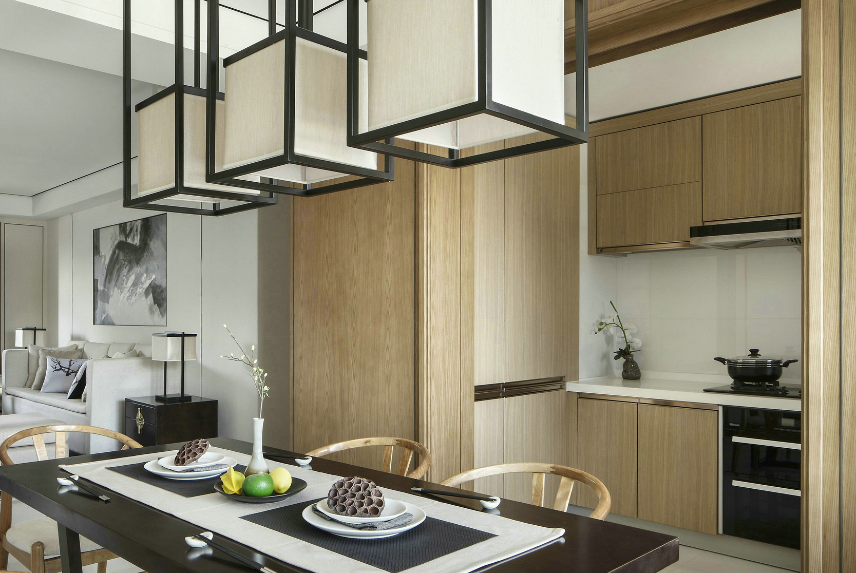 三居室新中式风格厨房装修效果图