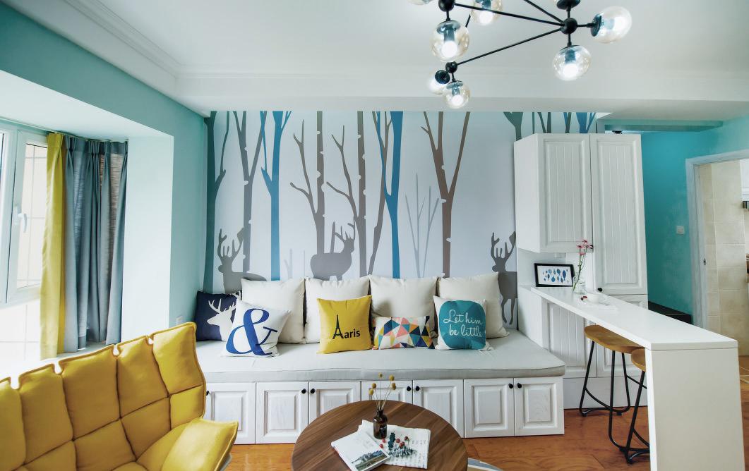 87平米小三居沙发背景墙装修效果图
