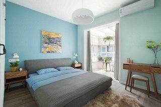 蓝色北欧风格三居卧室每日首存送20
