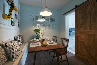 蓝色北欧风格三居餐厅装修效果图