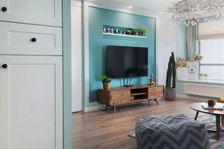 蓝色北欧风格三居电视背景墙装修效果图