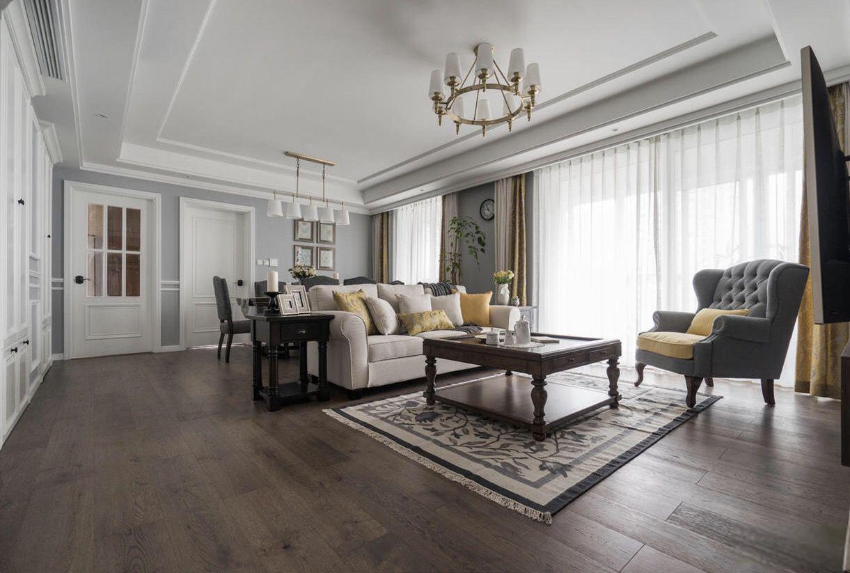 137㎡美式风格客厅装修效果图