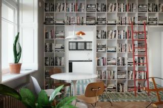 小户型简约风公寓书柜装修效果图