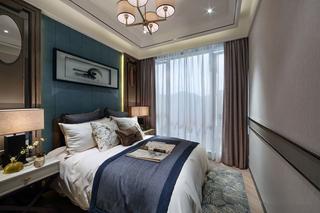 现代新中式样板房卧室装修效果图