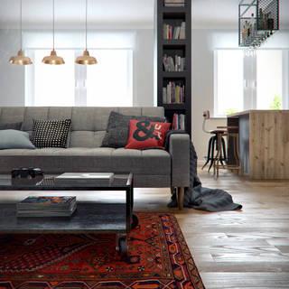 69㎡混搭风公寓装修沙发布置图