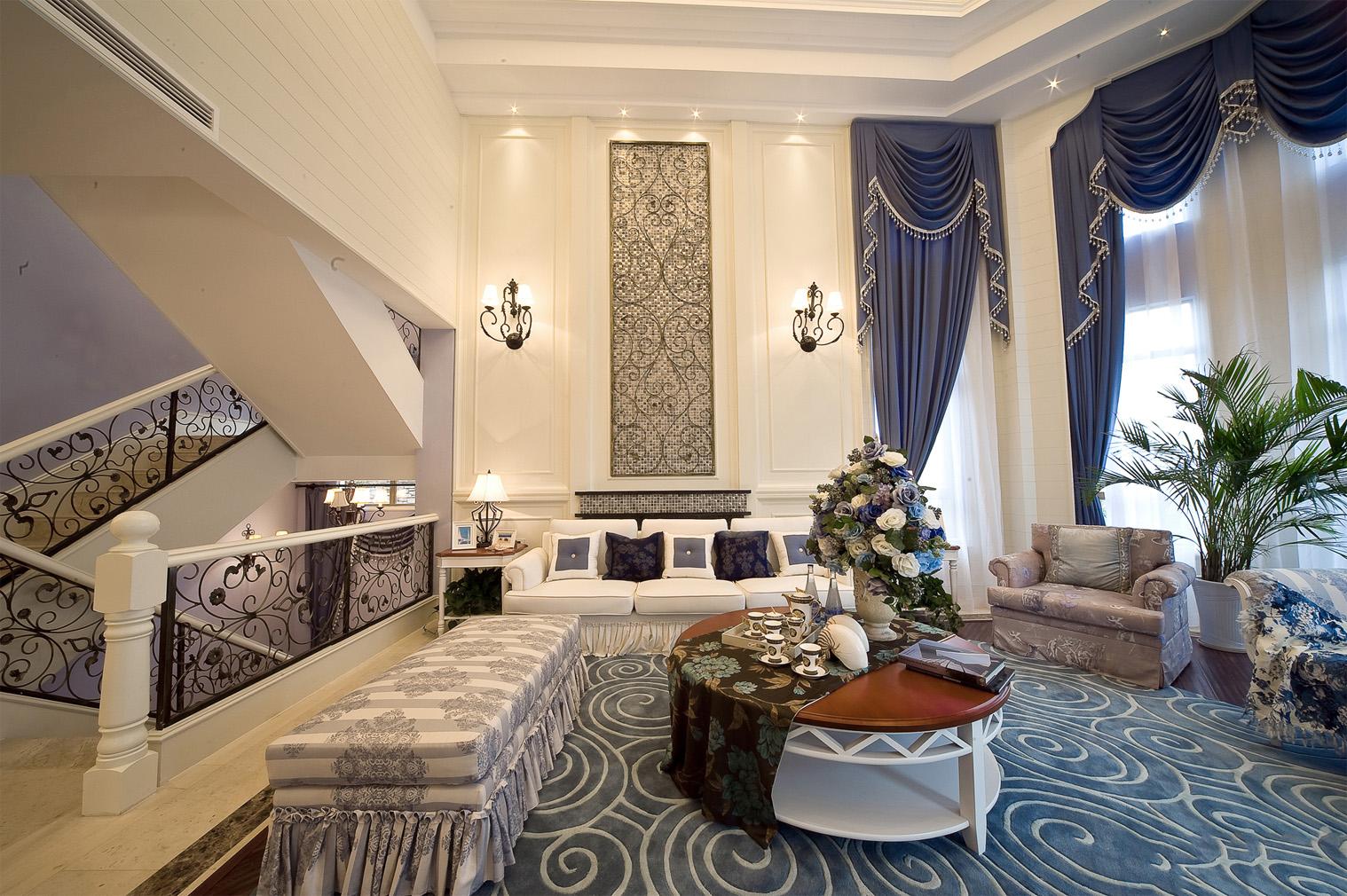 地中海风格别墅客厅装修设计图