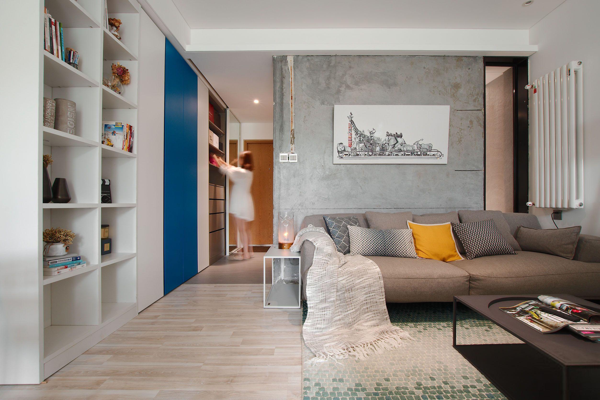 40㎡简约单身公寓沙发背景墙装修效果图