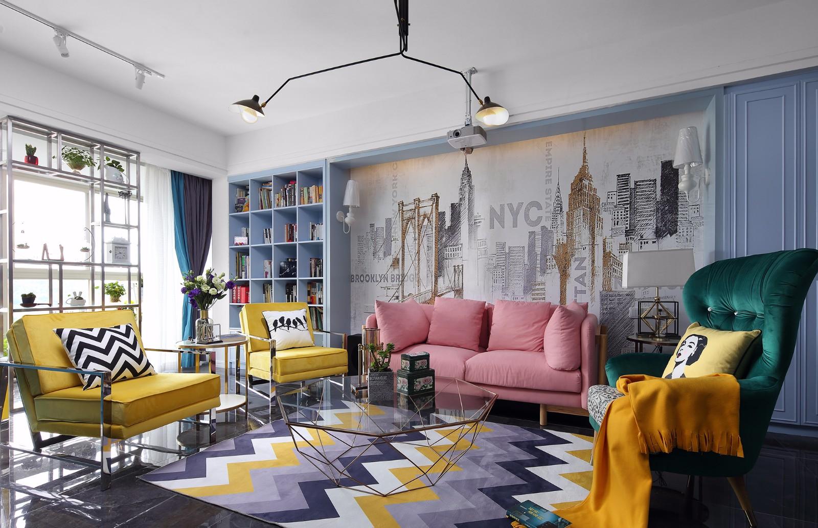 北欧混搭风格客厅装修效果图