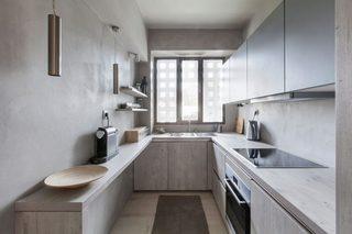 白灰色现代公寓厨房装修效果图