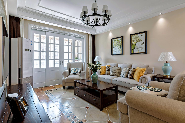 134㎡美式风格沙发背景墙装修效果图
