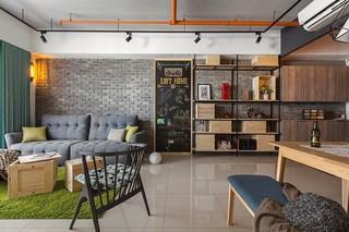 92平米工业风格沙发背景墙装修效果图