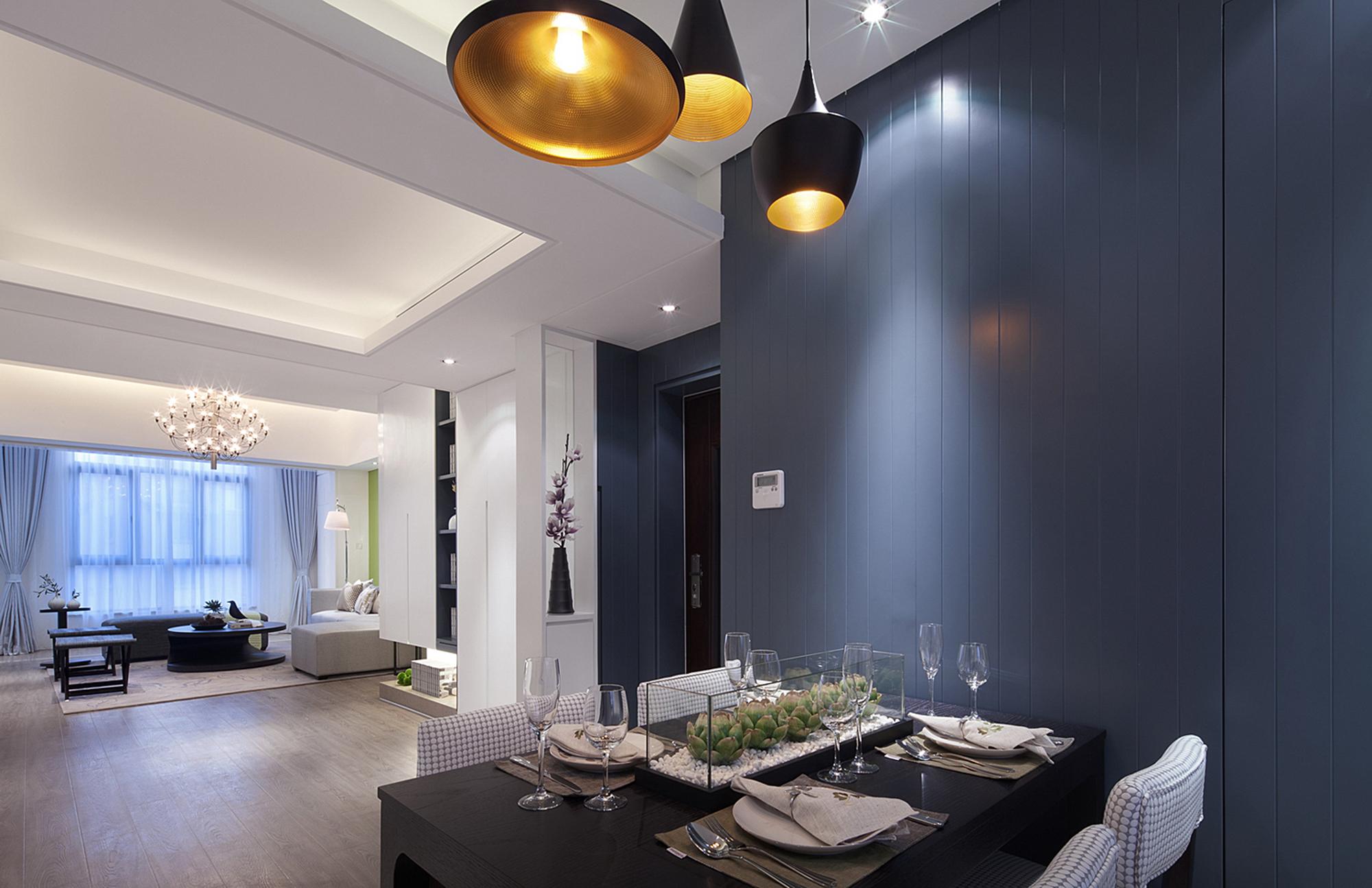 现代简约三居餐厅背景墙装修效果图