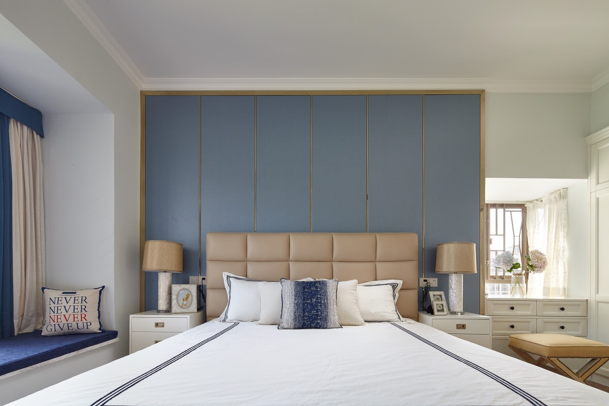 大户型现代简美风床头背景墙装修效果图