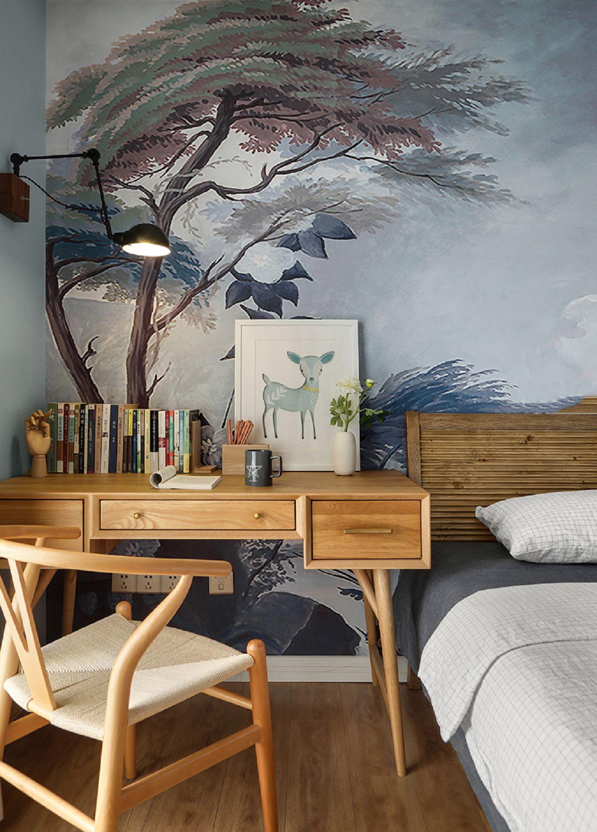 110平米北欧风格装修书桌设计图
