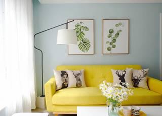 75平米北欧风格装修黄色沙发设计