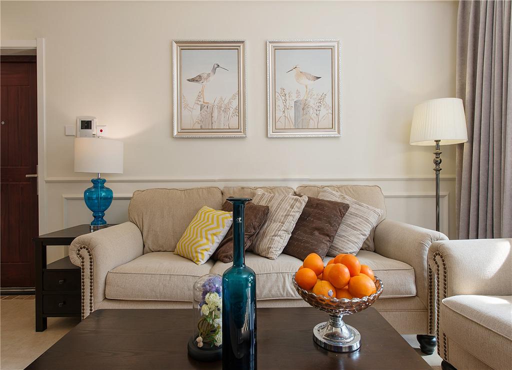 123平美式风格沙发背景墙装修效果图