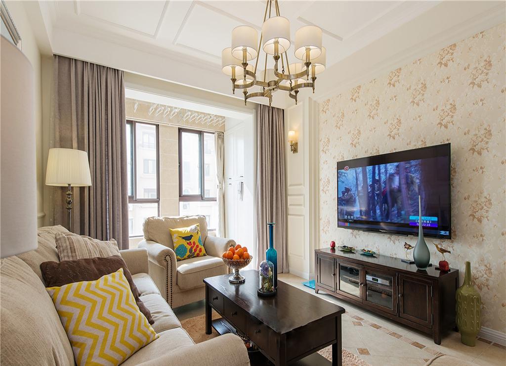 123平美式风格电视背景墙装修效果图