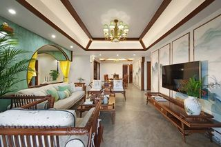 150㎡新中式风格客厅装修效果图