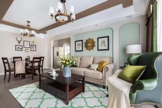 140㎡美式四居室客厅装修效果图