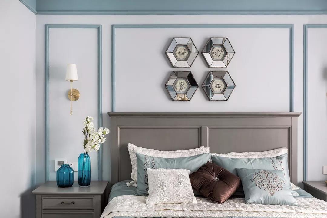 140㎡美式四居卧室背景墙装修效果图
