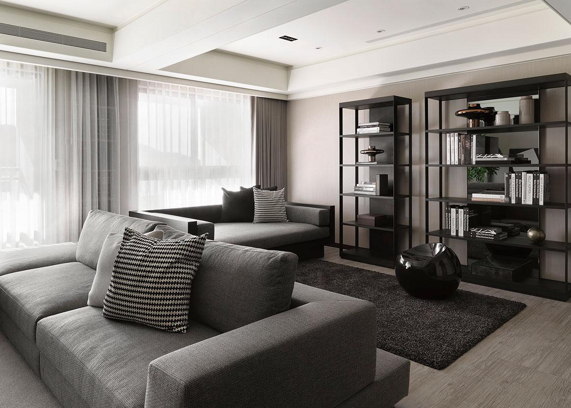 黑白灰现代简约开放式书房装修效果图
