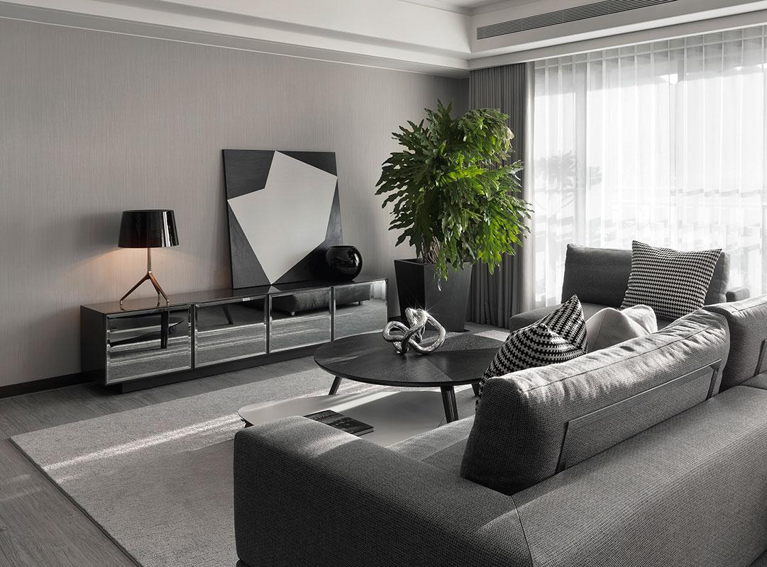 黑白灰现代简约客厅装修效果图