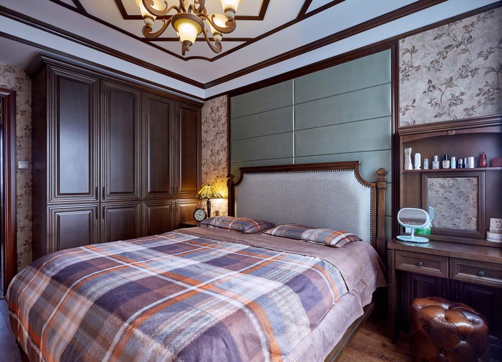 三居室美式乡村风格卧室装修效果图