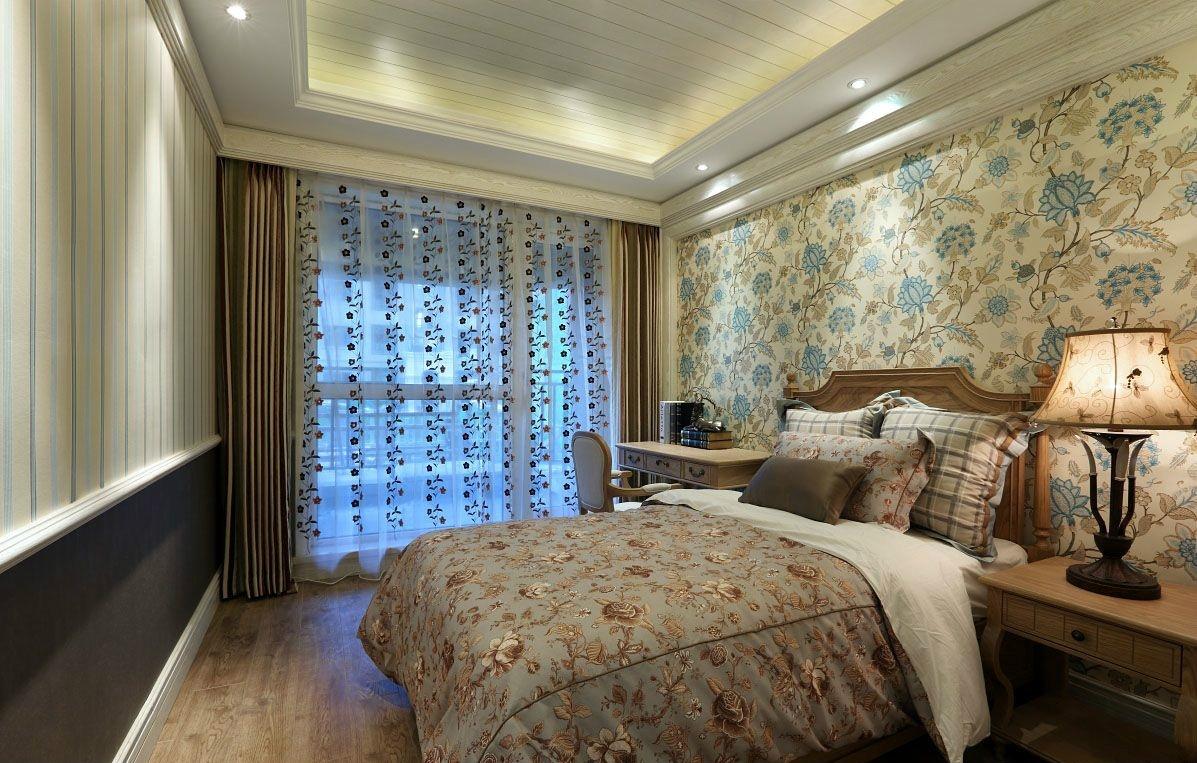 三居室美式田园风格卧室装修效果图
