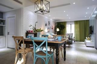 三居室简约美式餐厅装修效果图