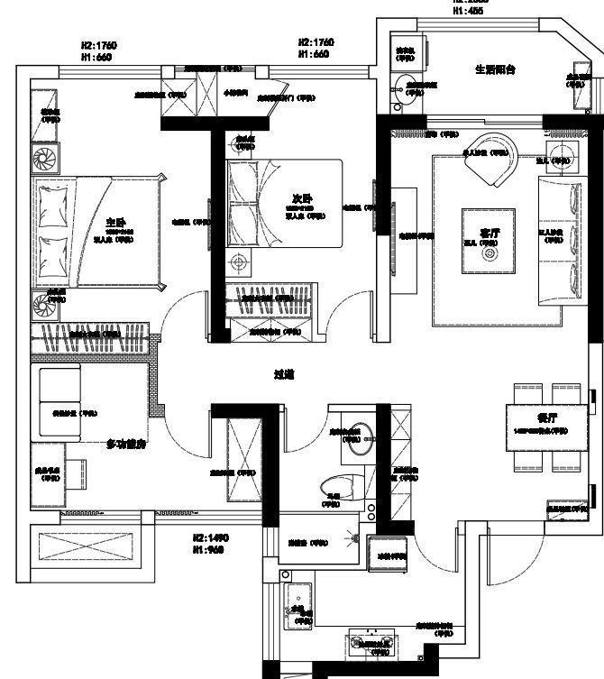 [装修案例]96平米原木现代简约风格装修效果图