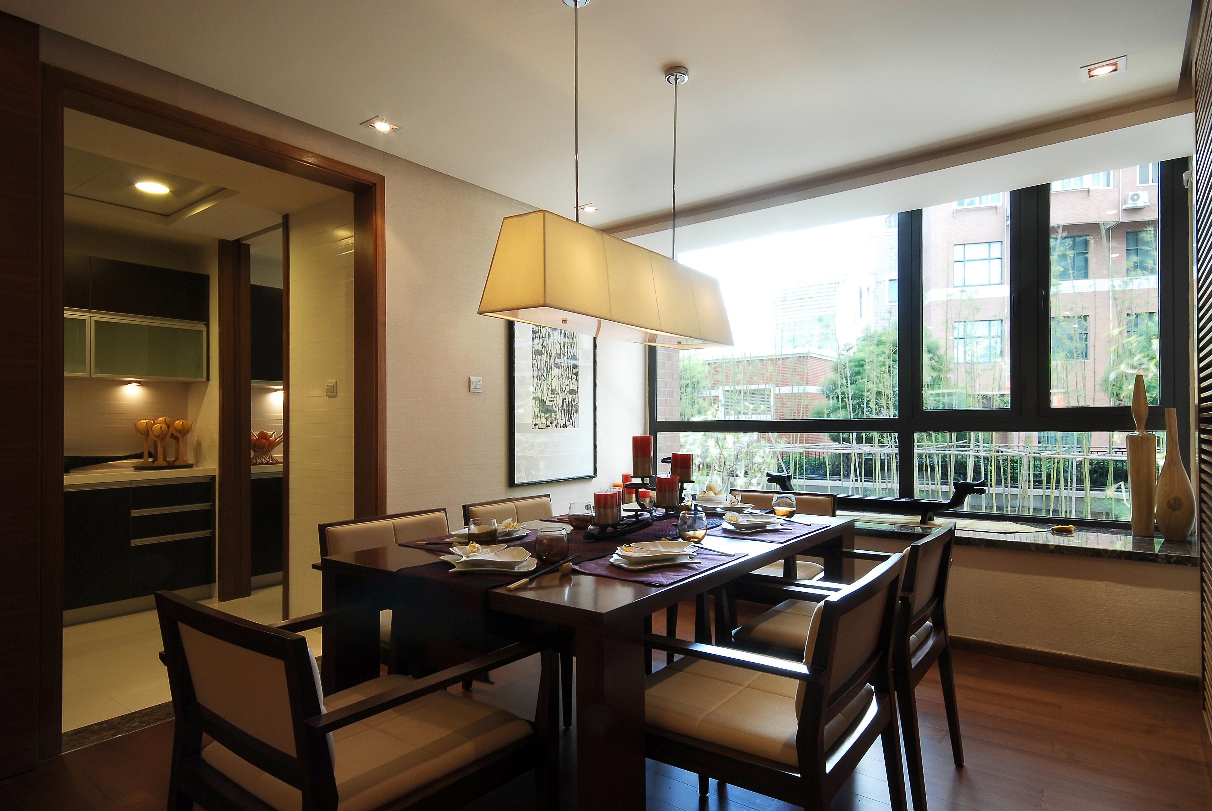 现代中式别墅餐厅装修设计效果图