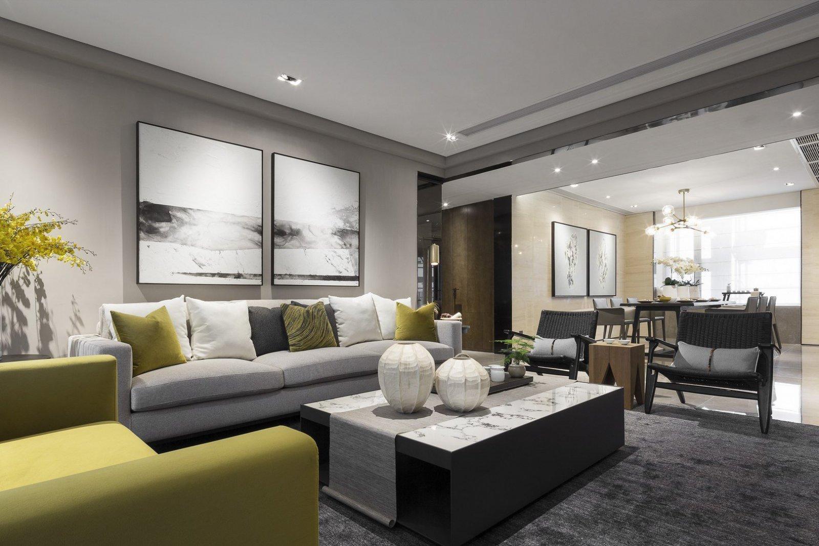 大户型现代风样板房沙发背景墙装修效果图