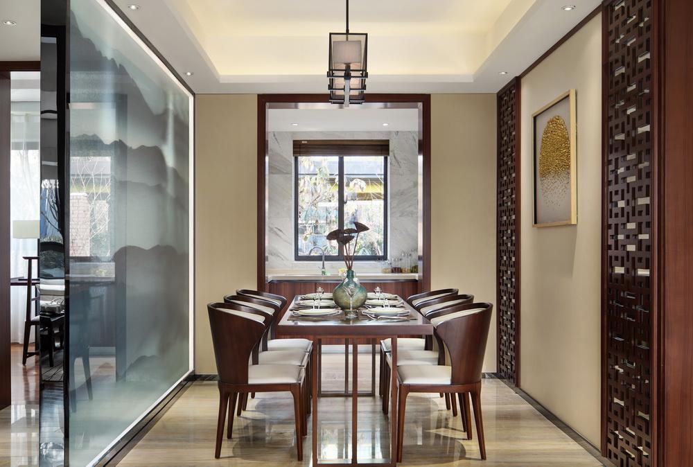 120平米新中式风格餐厅装修效果图